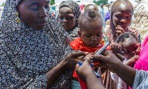 6个月大的玛拉姆(Ajeda Mallam)刚刚在尼日利亚东北部一个境内流离失所者营地接种了脊髓灰质炎疫苗。