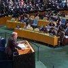 António Guterres se dirige al pleno de la Asamblea General tras su nombramiento como próximo Secretario General de la ONU. Foto de archivo: ONU/Amanda Voisard