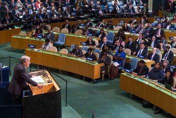古特雷斯向联大发表演讲。联合国图片/Amanda Voisard