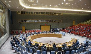 Wide view of the Security Council during its meeting on the threat posed by Islamic State of Iraq and the Levant (ISIL, Da'esh) to international peace and security and on the efforts of the UN in support of its Member States to counter the threat.
