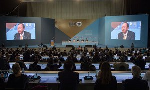 Secretary-General Ban Ki-moon addresses the opening of the Second World Assembly of Local and Regional Governments, ahead of the UN Conference on Housing Sustainable Urban Development in Quito, Ecuador.