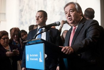 António Guterres, Secretary-General-designate, speaks to journalists at the General Assembly stakeout following his appointment by acclamation to serve as the next Secretary-General of the United Nations.