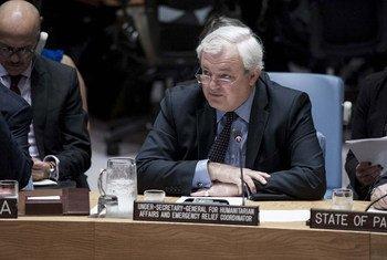 وكيل الأمين العام للشؤون الإنسانية ستيفن أوبراين في  مجلس الأمن. المصدر: الأمم المتحدة / كيم هوتون