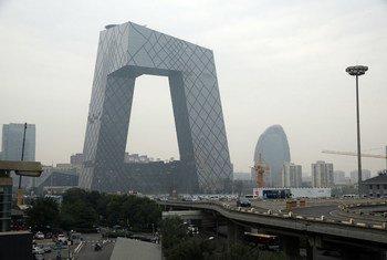 Contaminación atmosférica en la ciudad de Pekín.