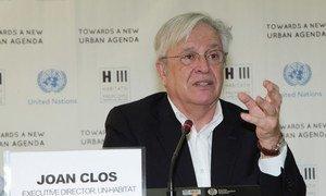 Le Directeur exécutif d'ONU-Habitat, Joan Clos, à la conférence Habitat III, à Quito, en Equateur.