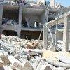 Destruição no campo de Yarmouk, na Síria.