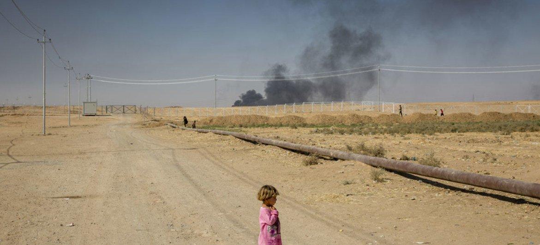 Desplazada interna iraquí en el campo Debaga, cerca de Mosul. Foto: ACNUR/Ivor Prickett