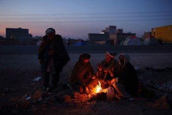 Des familles de la province de Ghor, en Afghanistan, se réunissent autour d'un feu pour lutter contre le froid. Environ 300 personnes vivent dans des abris et des tentes de fortune après avoir fui leur maison en raison des combats et de la sécheresse.