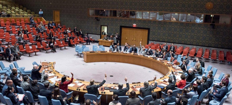 安理会成员一致举手投赞成票。联合国图片/Cia Pak
