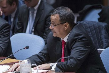 L'Envoyé spécial du Secrétaire général de l'ONU pour le Yémen, Ismail Ould Cheikh Ahmed, briefe le Conseil de sécurité. Photo ONU/Amanda Voisard