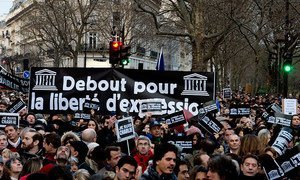 A view of participants in a march for freedom and solidarity in Paris, held in the wake of the deadly terrorist assault on French satirical magazine Charlie Hebdo. UNESCO/C. Darmouni