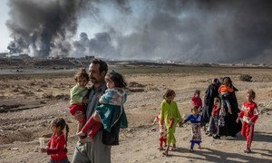 A family displaced by fighting in the village of Shora, 25 kilometres south of Mosul, Iraq, walk towards an army checkpoint on the outskirts of Qayyarah.