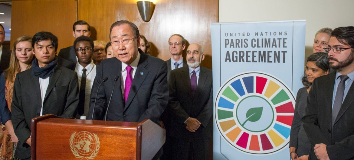 Secretary-General Ban Ki-moon speaks to journalists on the entry into force of the Paris Agreement on climate change.