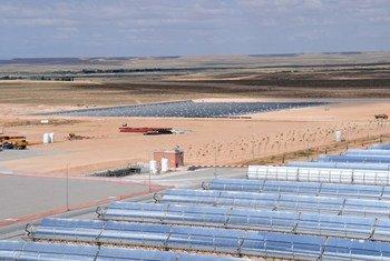 La centrale thermo-solaire d'Ain Beni Mathar au Maroc.