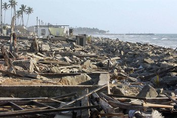 A view of the vast destruction of Moratuwa, a coastal town in the Southwest of Sri Lanka, caused by the 2004 Indian Ocean tsunami.