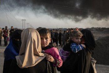 Des familles déplacées par les combats dans le village de Shora, à 25 kilomètres au sud de Mossoul, re regroupe à un point de contrôle de l'armée situé en périphérie de Qayyarah. Photo HCR/Ivor Prickett