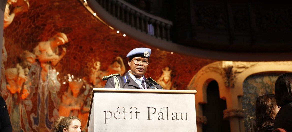 Priscilla Makotose speaks during the International Association of Women Police Annual conference. Makotose hold the title of United Nations-African Union Mission in Darfur (UNAMID) Police Commissioner, and is the highest-ranking female police officer  in the UN system.