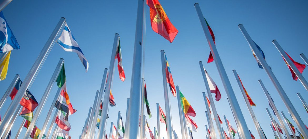 Country Flags outside the UN COP22 venue in Marrakech, Morocco.