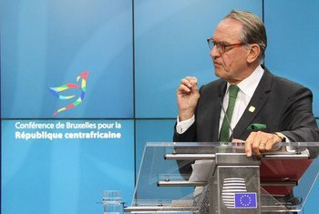 UN Deputy Secretary-General Jan Eliasson delivers address at the Brussels Conference for the Central African Republic.
