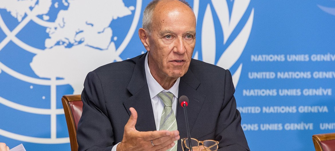 WIPO Director General Francis Gurry speaks at a press conference at the United Nations Office in Geneva, Switzerland (file).