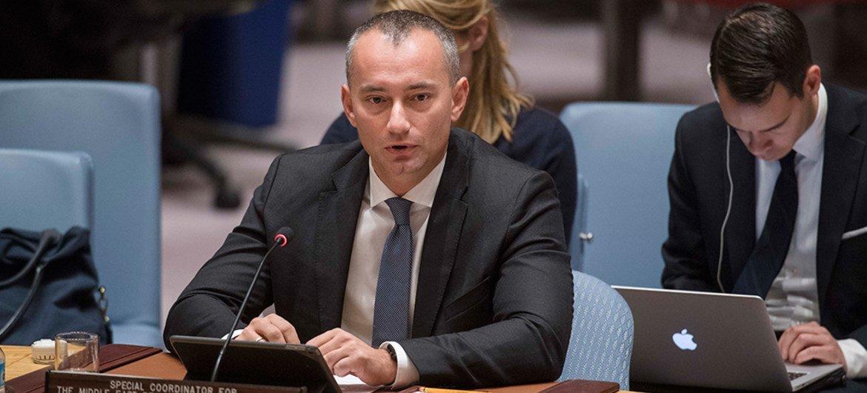 Le Coordonnateur spécial de l'ONU pour le processus de paix au Moyen-Orient, Nickolay Mladenov, devant le Conseil de sécurité. Photo ONU/Amanda Voisard (archives)