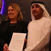 Michael Simpson, Executive Director, Secure World Foundation (left); Simonetta Di Pippo, Director, United Nations Office for Outer Space Affairs (UNOOSA) (centre); and Mohammed Nasser Al-AHBABI, of the United Arab Emirates Space Agency (right).