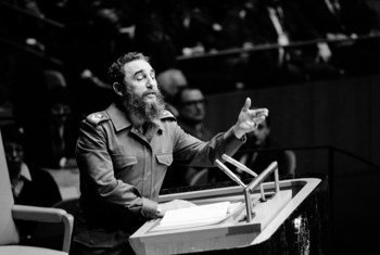 Fidel Castro Ruz, líder de la Revolución cubana, habla ante la Asamblea General de la ONU en octubre de 1979. Foto ONU/Yutaka Nagata.
