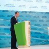 Secretary-General Ban Ki-moon addresses the opening of the United Nations Global Sustainable Transport Conference, held in Ashgabat, Turkmenistan.