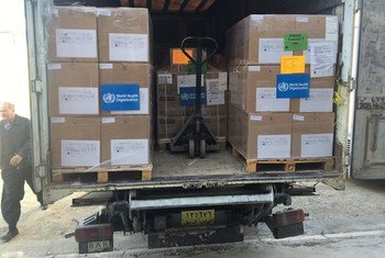 WHO delivers trauma medicines and supplies to reinforce trauma care services in areas of east Mosul, Iraq.
