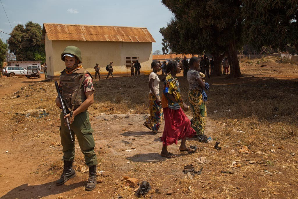 A UN peacekeeper on patrol in Bria, Central African Republic. (file)