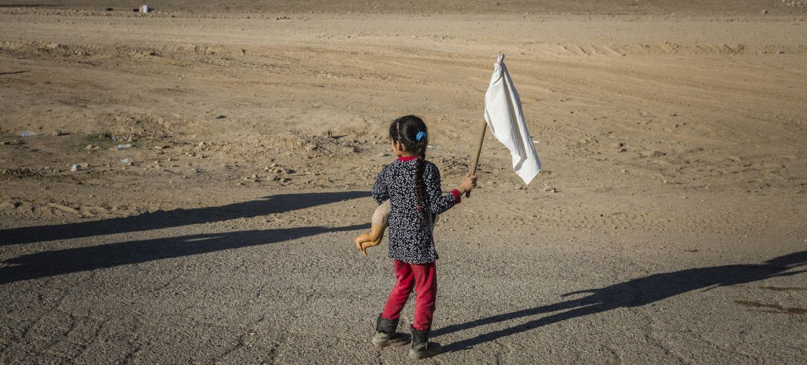 A young girl carrying a teddy bear and waving a white flag, heads towards an army outpost in the Samah neighbourhood on the eastern outskirts of Mosul, away from the heavy fighting engulfing the city.