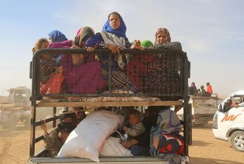 Displaced children and adults in Syria are seen in a vehicle after fleeing from ISIL-controlled areas in rural Raqqa to Ain Issa, the main staging point for displaced families, some 50 kilometres north of Raqqa city.