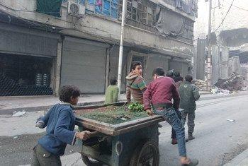 Niños empujando un carrito para vender rábanos en Alepo, donde los alimentos son muy escasos. Foto: UNICEF/Zayat