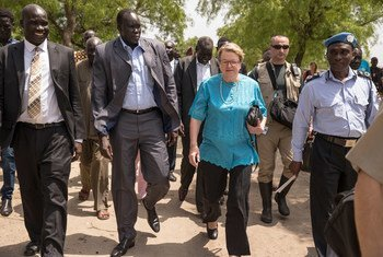 The Special Representative of the UN Secretary-General (SRSG) for South Sudan Ellen Margrethe  Løj, visiting Pibor Town  in South Sudan where she met with senior local officials including David Yau Yau.