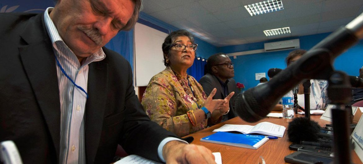 L-R: Members of the UN Commission on Human Rights in South Sudan – Kenneth Scott, chairperson Yasmin Sooka and Godfrey Musila – brief the press at the end of a ten-day visit.