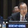 潘基文秘书长在联大有关应对海地霍乱疫情新战略非正式会议上发表讲话。联合国图片/Eskinder Debebe