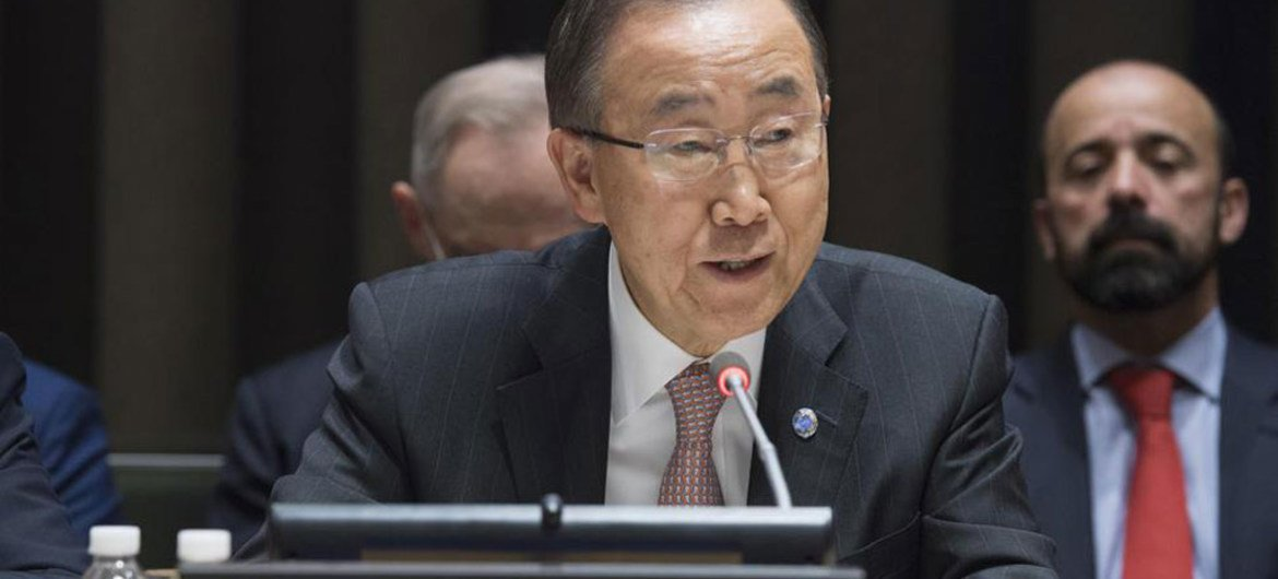 Secretary-General Ban Ki-moon addresses an informal meeting of the General Assembly on the United Nations' new approach to cholera in Haiti.