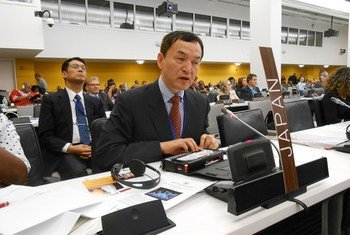 Jun Ishikawa delivers a statement at the Conference of State Parties to the Convention on the Rights of Persons with Disabilities (CRPD) in 2014 at UN Headquarters in New York.