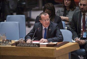 مارتن كوبلر، الممثل الخاص للأمين العام ورئيس بعثة الأمم المتحدة للدعم في ليبيا في  مجلس الأمن. المصدر: الأمم المتحدة / أماندا فويسارد