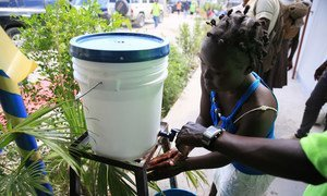 Hand washing is a key step in preventing cholera and other diarrheal diseases after Hurricane Mathew in Haiti.