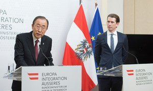 Secretary-General Ban Ki-moon at a press stakeout with the Federal Minister for Europe, Integration and Foreign Affairs of Austria, Sebastian Kurz.
