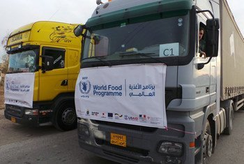Trucks deliver food and other humanitarian supplies to those in desperate need in eastern Mosul.