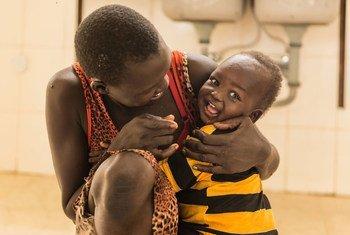 Nyarake Koang, 25, and her 1 year old son Tesloach Reath.