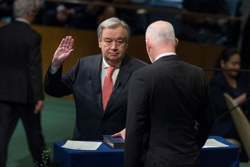 António Guterres, Secretary-General-designate of the United Nations, takes the oath of office for his five-year term, which begins on 1 January 2017. The oath was administered by Peter Thomson, President of the 71st session of the General Assembly.