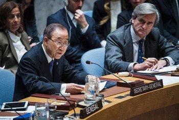 潘基文秘书长在安理会发言。联合国图片/Amanda Voisard