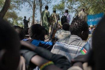 Niños desmovilizados en Pibor, Sudán del Sur. Foto: UNICEF/Charles Lomodong