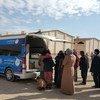 世卫组织提供的六个流动诊所之一,为叙利亚阿勒颇逃离暴力的人提供医疗服务。