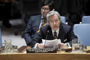 Le Représentant spécial du Secrétaire général pour l'Afghanistan, Tadamichi Yamamoto, devant le Conseil de sécurité. Photo ONU/Manuel Elias