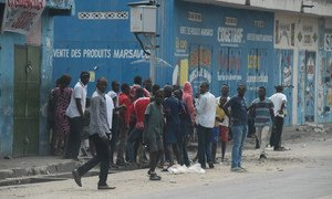 A group of people gather in Kinshasa during demonstrations in the Democratic Republic of the Congo (DRC) on 19 and 20 December 2016.
