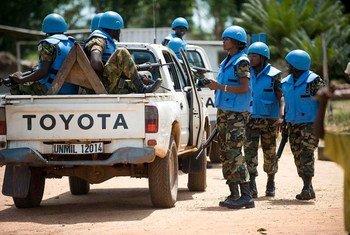Des Casques bleus de la de la Mission des Nations Unies au Libéria (MINUL).